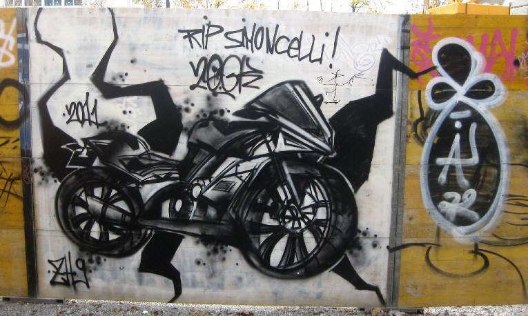 graffiti memorial for marco simoncelli by 20GK graffiti crew in zurich switzerland